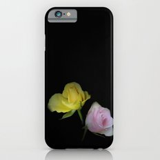 flowers on black - yellow and pink rosebud for curtains and homeproducts iPhone 6s Slim Case