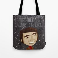 carl sagan Tote Bags featuring Carl Sagan by Stephanie Fizer Coleman