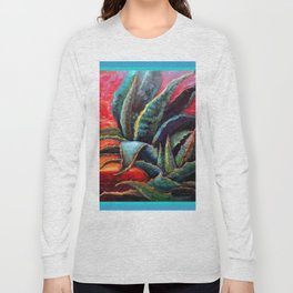 Southwest Desert Agave Cacti Sunrise Long Sleeve T-shirt