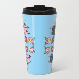 Ladybugs in Pink & Black Travel Mug