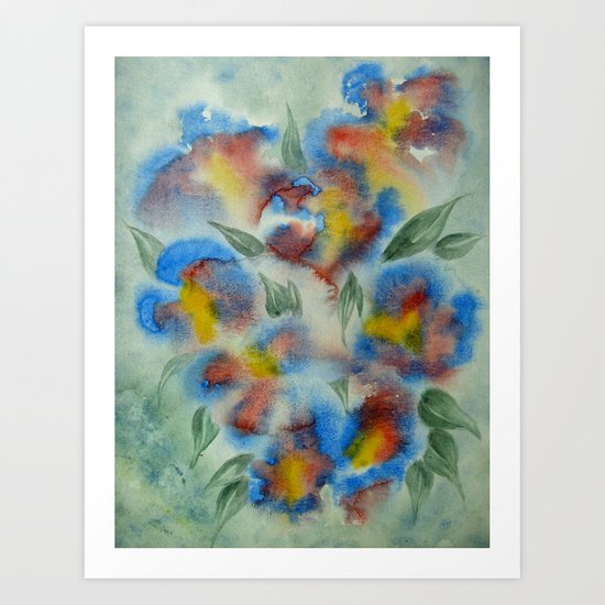 Abstract Flowers Blue Watercolor Art Print