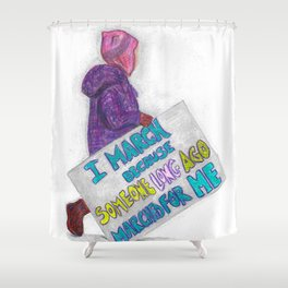 Women's March Pussyhat Girl Protester Shower Curtain