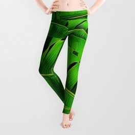 Green Verdant Jungle Leaves Patterned Abstract Leggings