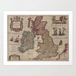 Vintage Map of The British Isles (1617) Art Print