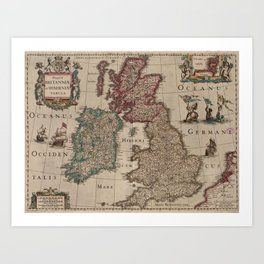 Vintage Map of The British Isles (1617) Art Print