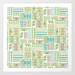 Polynesia Geometric Tapa Cloth - Earth Colors Art Print