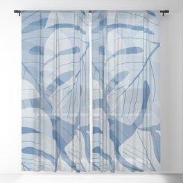 Large White Monstera Leaves on Classic Blue #decor #society6 #buyart Sheer Curtain