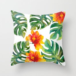 Monstera And Hibiscus Throw Pillow