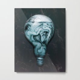 Trapped In This Idea - Aqua Metal Print