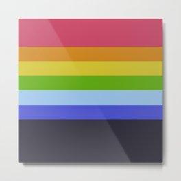 7 Abstract Rainbow Colors Retro Summer Stripes Design Tia Metal Print