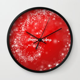 Modern stylish red white Christmas typography Wall Clock