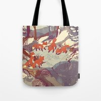 abstract art Tote Bags featuring Fisher Fox by Teagan White