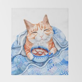 Happy Cat Drinking Hot Chocolate Throw Blanket