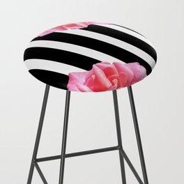 Pink roses on black and white stripes Bar Stool