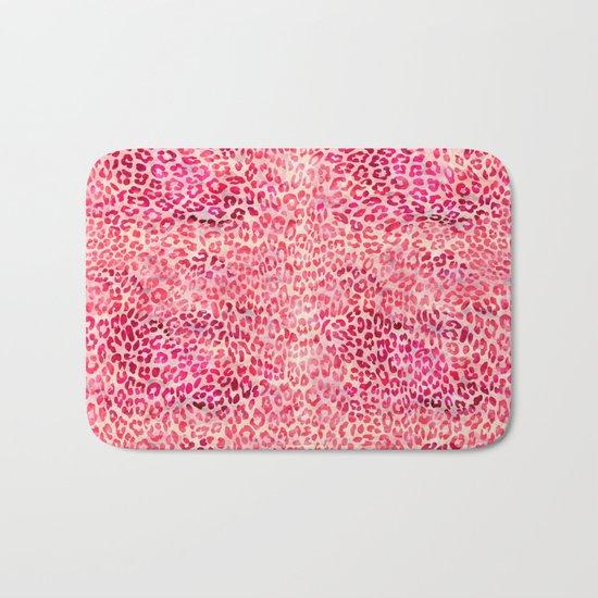 Pink Leopard Print Bath Mat