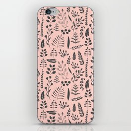 Pink and black leaves iPhone Skin