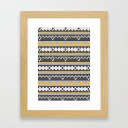 Gray stripes and native shapes Framed Art Print