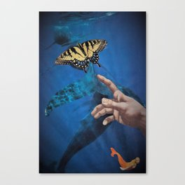 Down Here, We All Float (Underwater Butterfly & Mermaid) Canvas Print