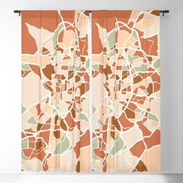 MADRID SPAIN CITY MAP EARTH TONES Blackout Curtain