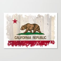 California Republic state flag - distressed edges on spruce planks Canvas Print