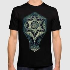 Sacred Geometry for your daily life- SRI YANTRA Black Mens Fitted Tee MEDIUM