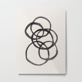 Bubble Rings Minimalist Modern Mid Century Black Ink Spirals Funky Nesting Rings Metal Print