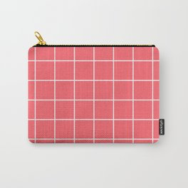 Coral Red Grid Carry-All Pouch
