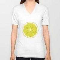 lemon V-neck T-shirts featuring Lemon by Avigur