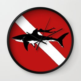 DIVER DOWN - great white shark dive Wall Clock