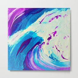Abstract Acrylic Painting_Blue Purple & White Metal Print