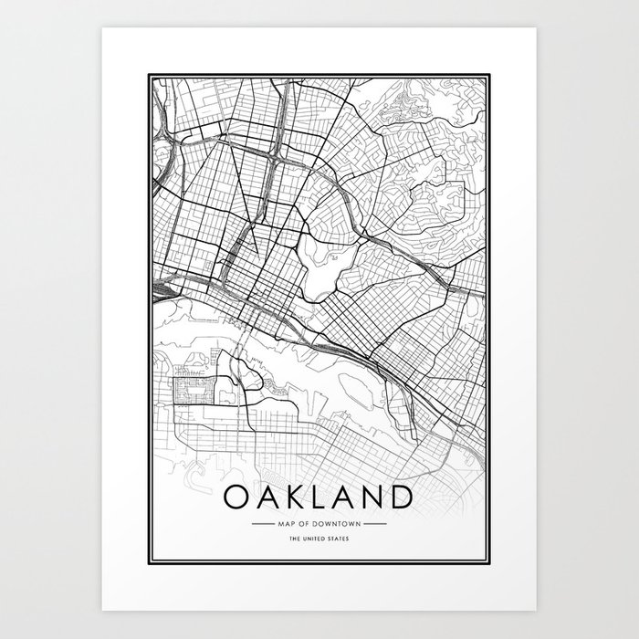 Oakland City Map United States White and Black Art Print by victorialyu