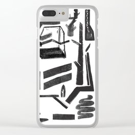 white-black Clear iPhone Case