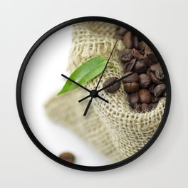 #Coffee #beans in #still life  in #Jute #sack Wall Clock