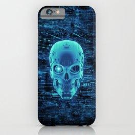 Gamer Skull BLUE TECH / 3D render of cyborg head iPhone Case