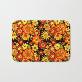 Super groovy flowers Black base orange Bath Mat