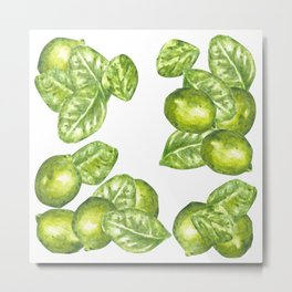 Watercolor Limes and Leaves Metal Print