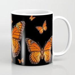 ABSTRACT ORANGE MONARCH BUTTERFLIES BLACK  PATTERNS Coffee Mug