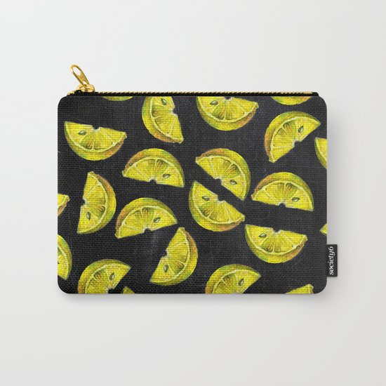 Lemon Slices Pattern Chalkboard Carry-All Pouch