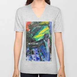 Abstract Oil Paint on Canvas Rothko Unisex V-Neck