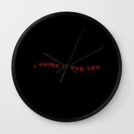 Modern Wavy Typographic I Think I Love You Wall Clock
