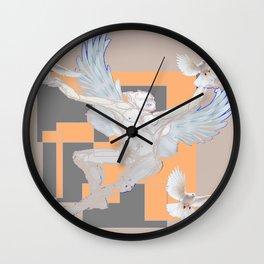 Abstract Angel With Birds Grey Art Wall Clock