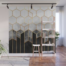Charcoal Hexagons Wall Mural