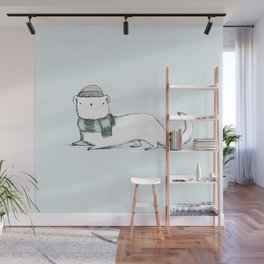 Ermine in Hat & Scarf Wall Mural