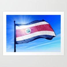 Costa Rica flag waving on the wind Art Print