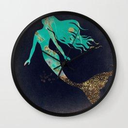 Turquoise Mermaid Wall Clock
