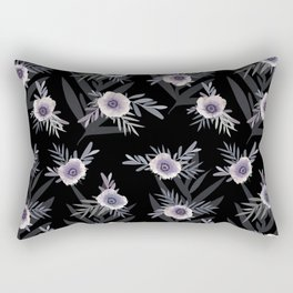 Floral pattern with anemone flowers, romantic print black background Rectangular Pillow