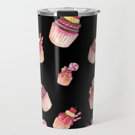 Cupcakes Pattern Cute Sweet Tooth Pink Colorful Black Background Travel Mug
