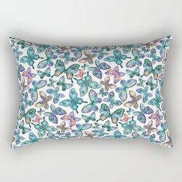 Watercolor Fruit Patterned Butterflies - Forest Green, Orange, Purple - custom request Rectangular Pillow