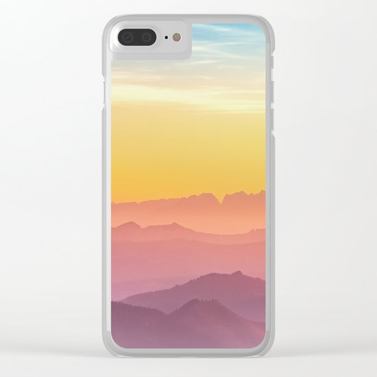 sunset in Austrian mountains Clear iPhone Case