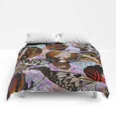 Colorful Butterfly Wing Mosaic Collage Comforters